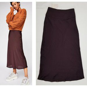 Free People Normani Bias Skirt in Mahogany NWT